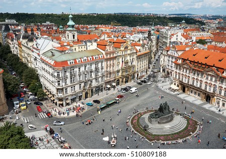 Czech Republic. Prague. Old Town Square in Prague. View from above. June 13, 2016