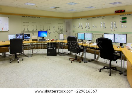 Czech Republic, Prague, 26.9. 2014. Power station control room in hydroelectric dam 30 km south of Prague on river Vltava.