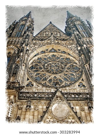 Czech Republic, Prague sights architecture streets. Stylized art background on old vintage paper. cards and calendars