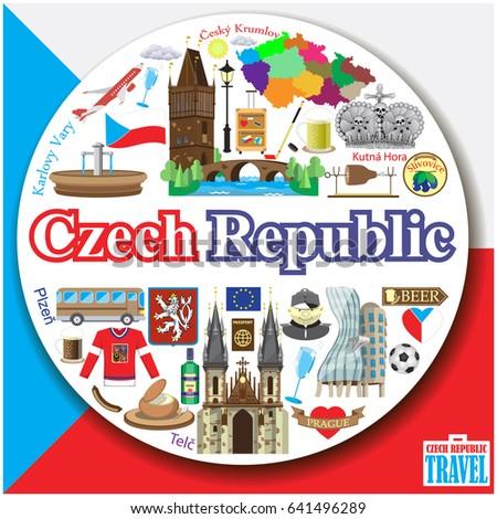 Czech Republic Round Background Colorful Flat Stock Illustration