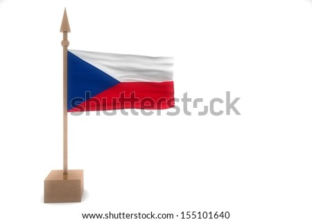 Czech Republic waving flag isolated on white