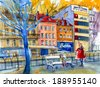 Czech view on street picturesque watercolor painting poster card background - stock photo