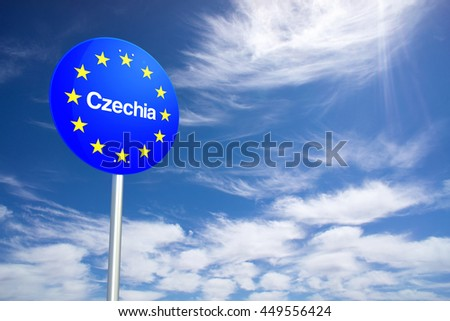 Czechia Border Sign with clouds sky. 3D Rendering - stock photo