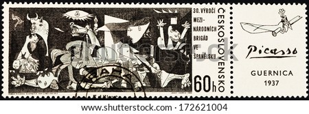 CZECHOSLOVAKIA - CIRCA 1967: A postage stamp printed in the Czechoslovakia shows Guernica painting by Pablo Picasso from Museo Reina Sofia Madrid Spain, circa 1967 - stock photo