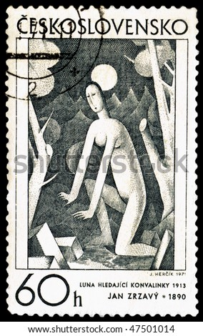 CZECHOSLOVAKIA - CIRCA 1971: a stamp printed by Czechoslovakia shows a picture of artist Jan Zrzavy. The moon and the woman, circa 1971