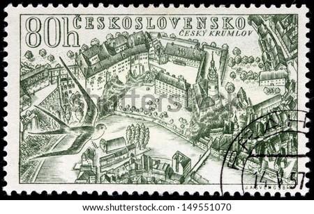 CZECHOSLOVAKIA - CIRCA 1957: a stamp printed by Czechoslovakia, shows bird's-eye view of Cesky Krumlov - a small city in the South Bohemian Region of the Czech Republic, circa 1957. - stock photo