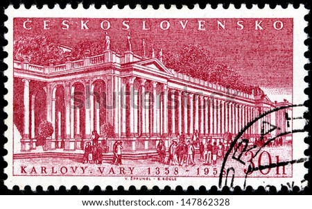 CZECHOSLOVAKIA - CIRCA 1958: A stamp printed by Czechoslovakia shows famous for its mineral springs Karlovy Vary (Karlsbad) - spa city situated in western Bohemia, Czech Republic, circa 1958.   - stock photo