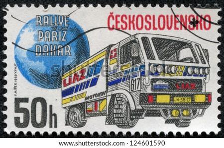 CZECHOSLOVAKIA - CIRCA 1989: A stamp printed by CZECHOSLOVAKIA shows old trucks, series, circa 1989 - stock photo