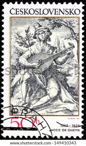 CZECHOSLOVAKIA - CIRCA 1982: A stamp printed by Czechoslovakia shows the lute player - engraving by Dutch painter and engraver Jacob de Gheyn (1565-1629), circa 1982.
