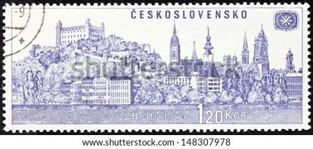 CZECHOSLOVAKIA - CIRCA 1967: a stamp printed by Czechoslovakia, shows view of Bratislava, circa 1967. - stock photo