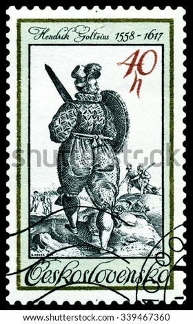 CZECHOSLOVAKIA - CIRCA 1983: a stamp printed by Czechoslovakia  shows Warrior with Sword and Shield, Evgraving  17th , circa 1983 - stock photo
