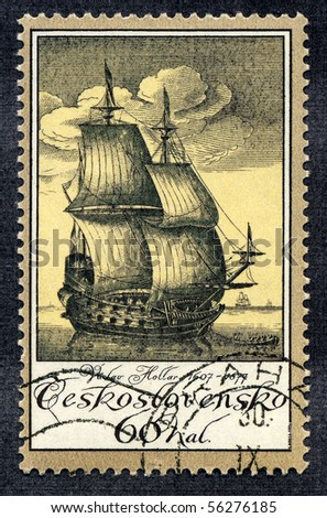 CZECHOSLOVAKIA - CIRCA 1976: A stamp printed in Czechoslovakia devoted to old vintage sailboat - stock photo