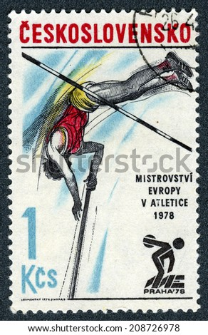 "Czechoslovakia - CIRCA 1978: A stamp printed in Czechoslovakia  ""1978 European Athletics Championships"" at 1978 in Prague, Czechoslovakia  - stock photo"
