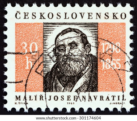 "CZECHOSLOVAKIA - CIRCA 1965: A stamp printed in Czechoslovakia from the ""Anniversaries and Events "" issue shows Josef Navratil (painter, death centenary), circa 1965.  - stock photo"