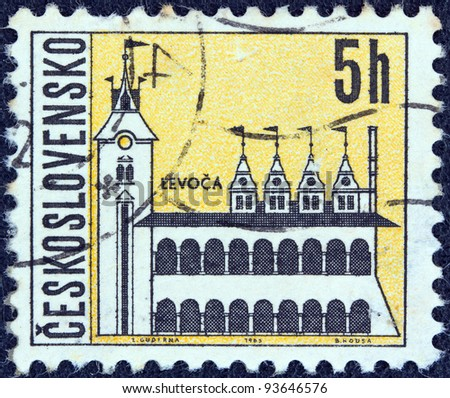 "CZECHOSLOVAKIA - CIRCA 1965: A stamp printed in Czechoslovakia from the ""Czechoslovakian Towns"" issue shows the old town hall, Levoca, circa 1965."