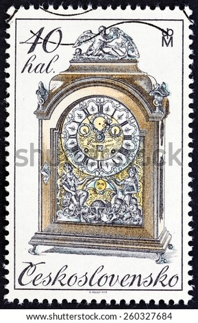 "CZECHOSLOVAKIA - CIRCA 1979: A stamp printed in Czechoslovakia from the ""Historic Clocks "" issue shows Baroque cabinet clock, circa 1979.  - stock photo"