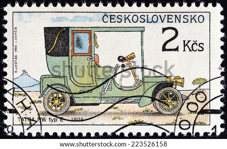 "CZECHOSLOVAKIA - CIRCA 1988: A stamp printed in Czechoslovakia from the ""Historic Motor Cars "" issue shows Tatra NW type E, 1905, circa 1988.  - stock photo"