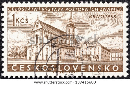 "CZECHOSLOVAKIA - CIRCA 1958: A stamp printed in Czechoslovakia from the ""National Stamp Exhibition, Brno"" issue shows St. Thomas's Church, Red Army Square, circa 1958. - stock photo"