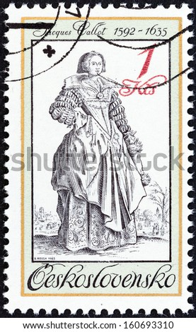 "CZECHOSLOVAKIA - CIRCA 1983: A stamp printed in Czechoslovakia from the ""Period Costumes from Old Engravings"" issue shows lady with Muff (Jacques Callot), circa 1983.  - stock photo"