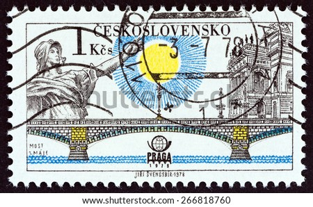 "CZECHOSLOVAKIA - CIRCA 1978: A stamp printed in Czechoslovakia from the ""PRAGA 78 International Stamp Exhibition. Prague Bridges "" issue shows Bridge of 1st May (Legion Bridge), circa 1978.  - stock photo"