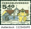 """CZECHOSLOVAKIA - CIRCA 1971: A stamp printed in Czechoslovakia from the """"Regional Buildings"""" issue showing a southern Bohemia baroque house, Posumavi, circa 1971. - stock photo"""