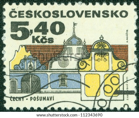 "CZECHOSLOVAKIA - CIRCA 1971: A stamp printed in Czechoslovakia from the ""Regional Buildings"" issue showing a southern Bohemia baroque house, Posumavi, circa 1971. - stock photo"