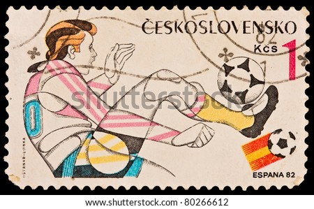 CZECHOSLOVAKIA - CIRCA 1982: A stamp printed in Czechoslovakia. image is devoted World championship on football, Spain-82, circa 1982 - stock photo