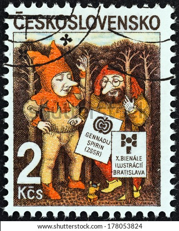 CZECHOSLOVAKIA - CIRCA 1985: A stamp printed in Czechoslovakia issued for the 10th Biennial Exhibition of Book Illustrations for Children, Bratislava shows Elves by Gennady Spirin, circa 1985.  - stock photo