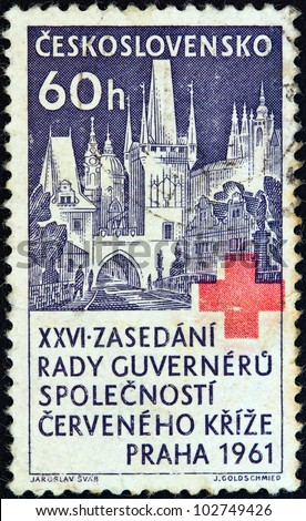 CZECHOSLOVAKIA - CIRCA 1961: A stamp printed in Czechoslovakia issued for the 26th session of Red Cross societies league Governors' Council, Prague shows Prague, circa 1961.