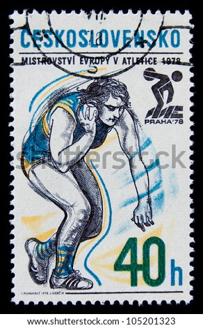 CZECHOSLOVAKIA  - CIRCA 1978: A stamp printed in Czechoslovakia  related with athletics, European Athletics Championships in prague 1978, circa 1978