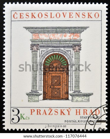 CZECHOSLOVAKIA - CIRCA 1980: A stamp printed in Czechoslovakia, show the Cover of Stary palace in Bratislava, circa 1980 - stock photo