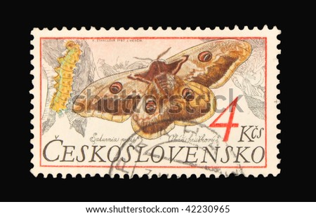 CZECHOSLOVAKIA - CIRCA 1987: A stamp printed in Czechoslovakia showing butterflies circa 1987