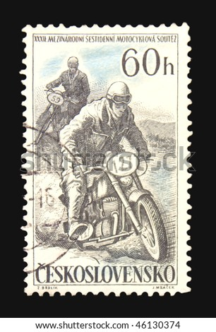CZECHOSLOVAKIA - CIRCA 1965: A stamp printed in Czechoslovakia showing motorcycle competition circa 1965