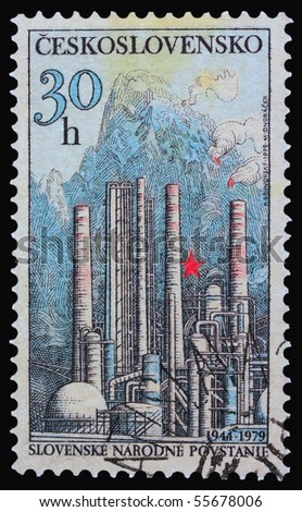 CZECHOSLOVAKIA - CIRCA 1979: A stamp printed in Czechoslovakia showing Slovak National Rebellion, circa 1979 - stock photo