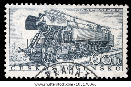 CZECHOSLOVAKIA - CIRCA 1956: A stamp printed in Czechoslovakia showing the 'Rady 477.0' Locomotive of 1955, circa 1956. - stock photo