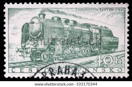 CZECHOSLOVAKIA - CIRCA 1956: A stamp printed in Czechoslovakia showing the 'Rady 534' Locomotive of 1945, circa 1956. - stock photo