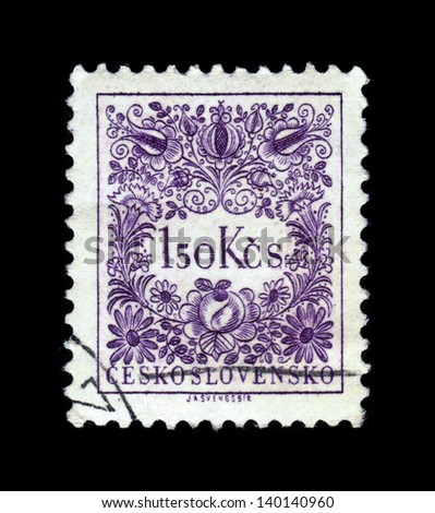 CZECHOSLOVAKIA - CIRCA 1954: A stamp printed in Czechoslovakia shows a   sign postage due , circa 1954. - stock photo