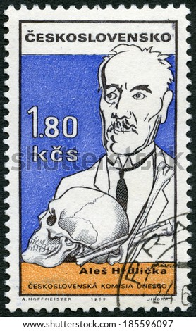 CZECHOSLOVAKIA - CIRCA 1969: A stamp printed in Czechoslovakia shows Ales Hrdlicka (1869-1943), Czech-born American anthropologist, Cultural personalities of the 20th centenary and UNESCO, circa 1969