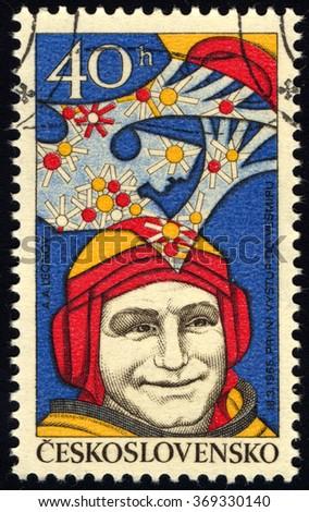 CZECHOSLOVAKIA - CIRCA 1977: A stamp printed in Czechoslovakia shows Alexei Leonov, Aeronautics Research series, circa 1977 - stock photo
