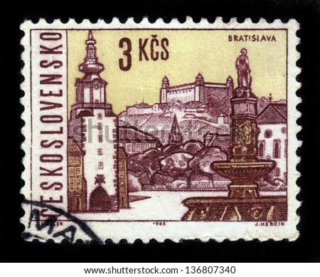 CZECHOSLOVAKIA - CIRCA 1965: A stamp printed in Czechoslovakia shows attractions of Bratislava, the capital of Slovakia, circa 1965 - stock photo