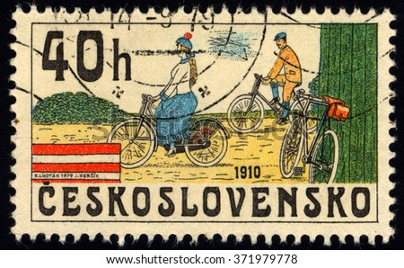CZECHOSLOVAKIA - CIRCA 1979: A stamp printed in Czechoslovakia shows Bicycles from 1910, circa 1979 - stock photo