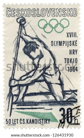 CZECHOSLOVAKIA - CIRCA 1963: A stamp printed in Czechoslovakia, shows canoe rower, devoted to Olympics in Tokyo, series, circa 1963