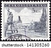 CZECHOSLOVAKIA - CIRCA 1953: A stamp printed in Czechoslovakia shows Charles Bridge, Prague, circa 1953. - stock photo