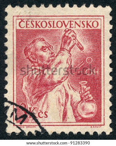 CZECHOSLOVAKIA - CIRCA 1954: A stamp printed in Czechoslovakia, shows chemist with a test tube and bulb, series, circa 1954