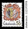 "CZECHOSLOVAKIA - CIRCA 1984: A stamp printed in Czechoslovakia, shows Coats of arms of Kutna Hora, with the same inscription, from the series ""Coats of arms of the Czechoslovak cities"", circa 1984 - stock photo"