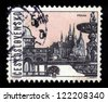 CZECHOSLOVAKIA - CIRCA 1963: A stamp printed in Czechoslovakia, shows famous places and sights of Prague, circa 1963 - stock photo