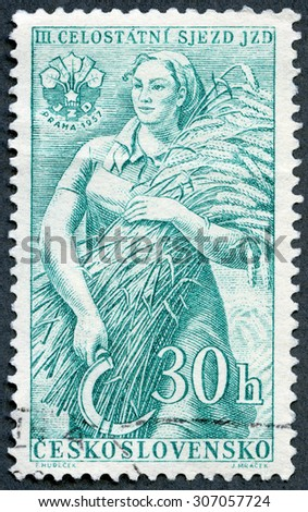 CZECHOSLOVAKIA - CIRCA 1957: A stamp printed in Czechoslovakia shows Farm Woman, series 3rd Congress of Agricultural Cooperatives, circa 1957 - stock photo