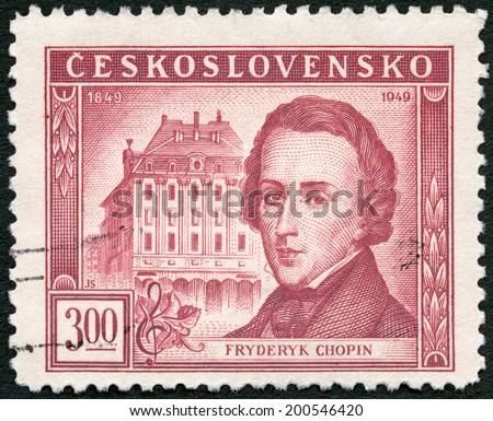 CZECHOSLOVAKIA - CIRCA 1949: A stamp printed in Czechoslovakia shows Frederic Chopin (1810-1849) and Conservatory, Warsaw, Centenary of the death of Frederic F. Chopin, circa 1949 - stock photo