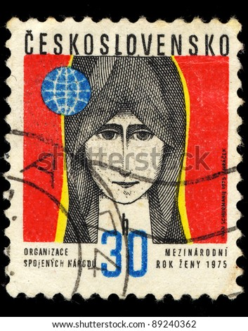 CZECHOSLOVAKIA - CIRCA 1975: A stamp printed in Czechoslovakia shows image of a woman face, circa 1975