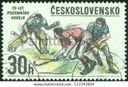 CZECHOSLOVAKIA - CIRCA 1978: A Stamp printed in Czechoslovakia shows image of Hockey, circa 1978 - stock photo
